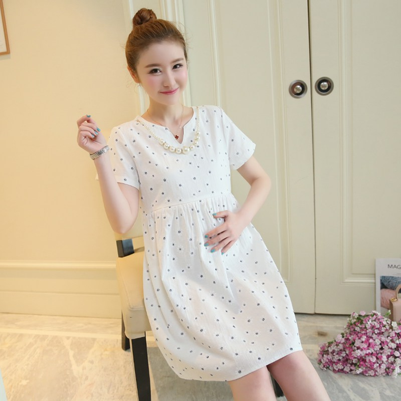 In the long section of maternity dress summer Korean version of the cotton dress pregnant women out breastfeeding nurse dress