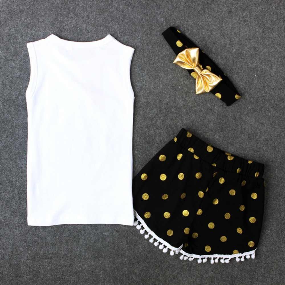 Puseky От 1 до 6 лет Детская одежда для девочек белого цвета без рукавов перо жилет футболка топы и шорты брюки бантом повязка на голову 3 шт./компл. летняя одежда