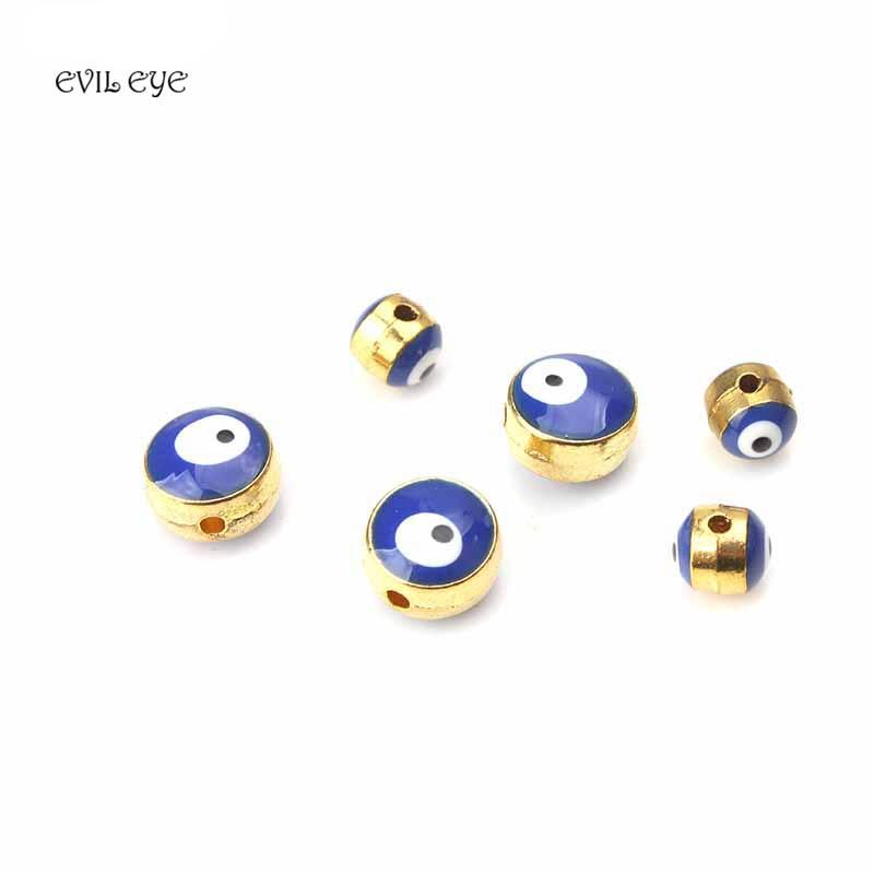EVIL EYE 10pcs/lot 8*6/6*6 mm Blue evil eye beads gold alloy hole beads for jewelry bracelet necklace components