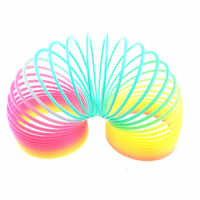 Big Size 10cm Kids Magic Plastic Rainbow Spring Colorful Children Circle Coil Elastic Ring for Christmas Birthday Gifts
