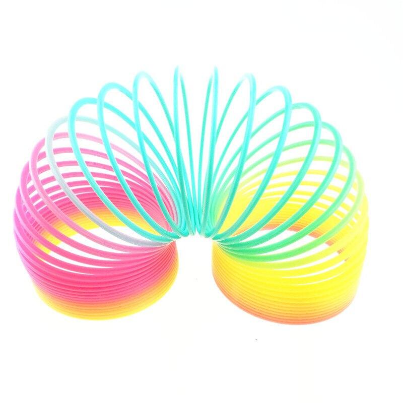 Tamaño grande 10 cm niños plástico mágico Arco Iris niños de colores círculo bobina anillo elástico para Navidad regalos de cumpleaños