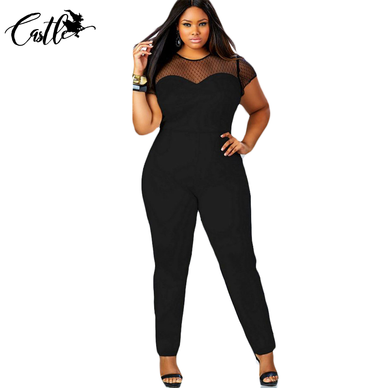l xl xxl xxxl sexy mesh overalls patchwork rompers o neck big yards short sleeve fashion long. Black Bedroom Furniture Sets. Home Design Ideas