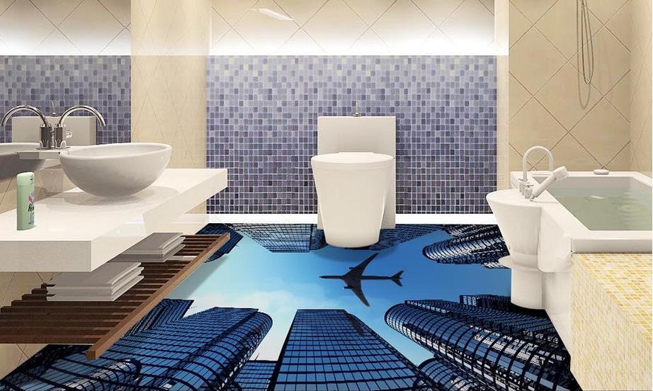 carta da parati personalizzata 3d impermeabile pavimentazione bagno 3d murales wallpaper citt aeromobili pavimenti in vinile