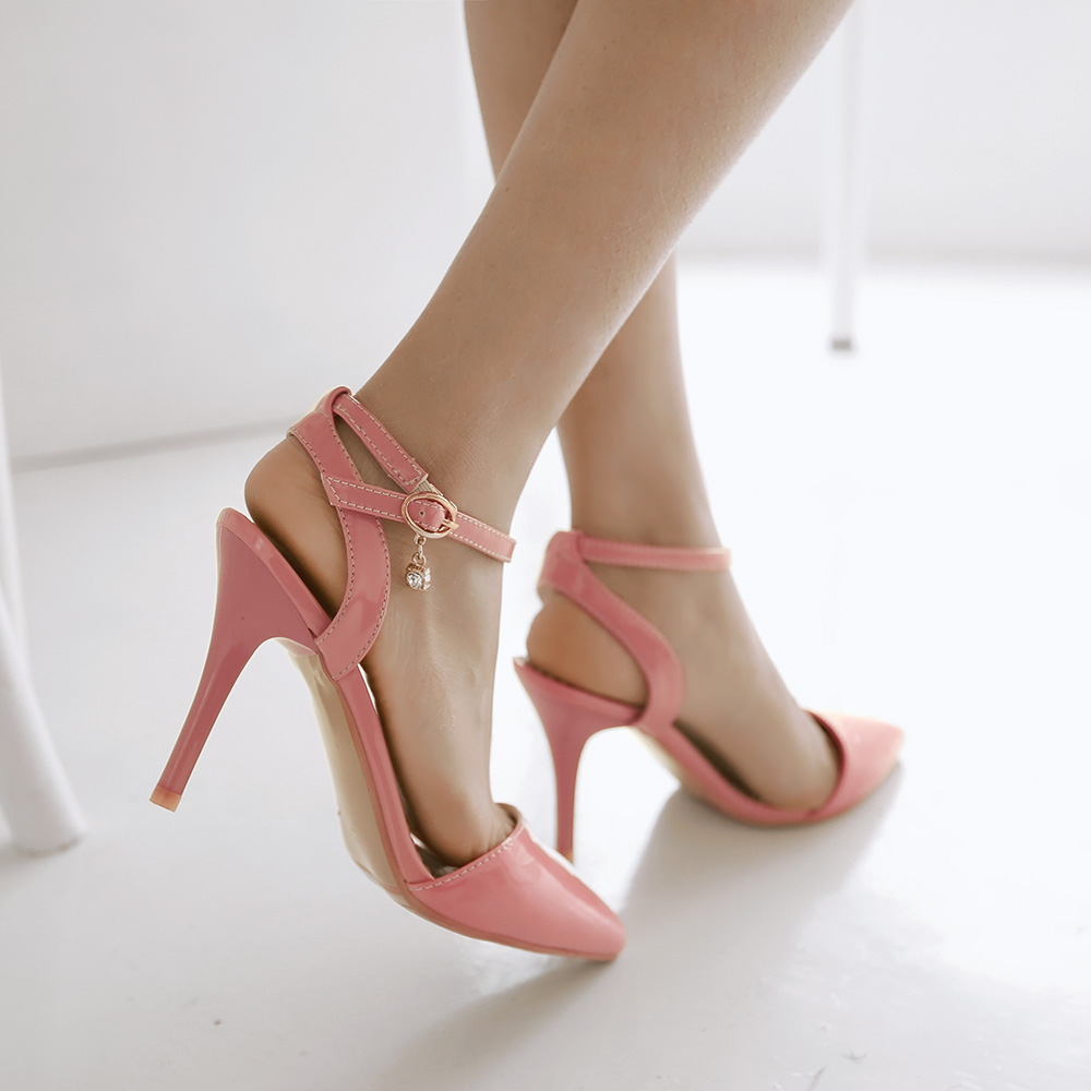 ФОТО Hot Selling Women Sandals High-quality Patent Leather Sandals Pink Green Nude Shoes Woman US Size 4-10.5