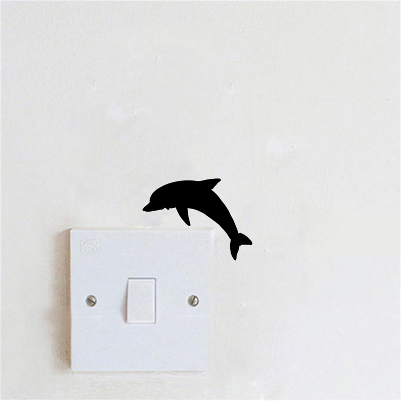 US $0 59 40% OFF Diving Dolphin Switch Sticker Scratch Cute Cartoon Animal  Decorative Wall Sticker 2WS0224-in Wall Stickers from Home & Garden on
