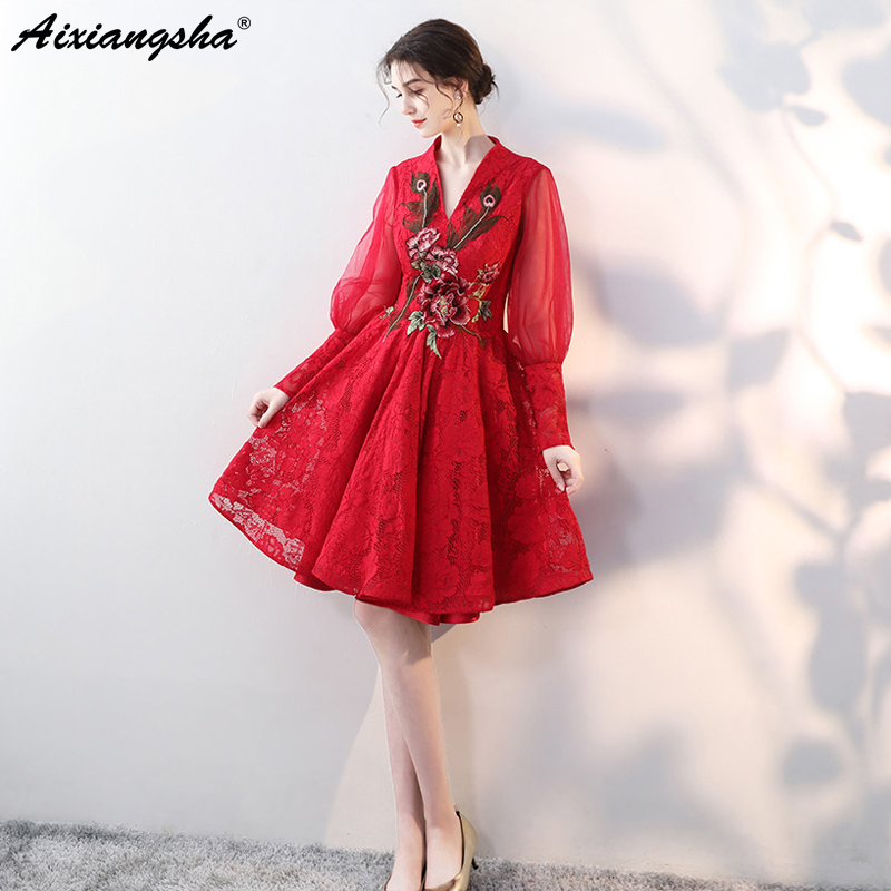 5bd3994030a New Arival Embroidery Custom Color Plus Size Prom Dresses 2018 vestido de  festa Lace Full Sleeve V-Neck Prom Dress Elegent