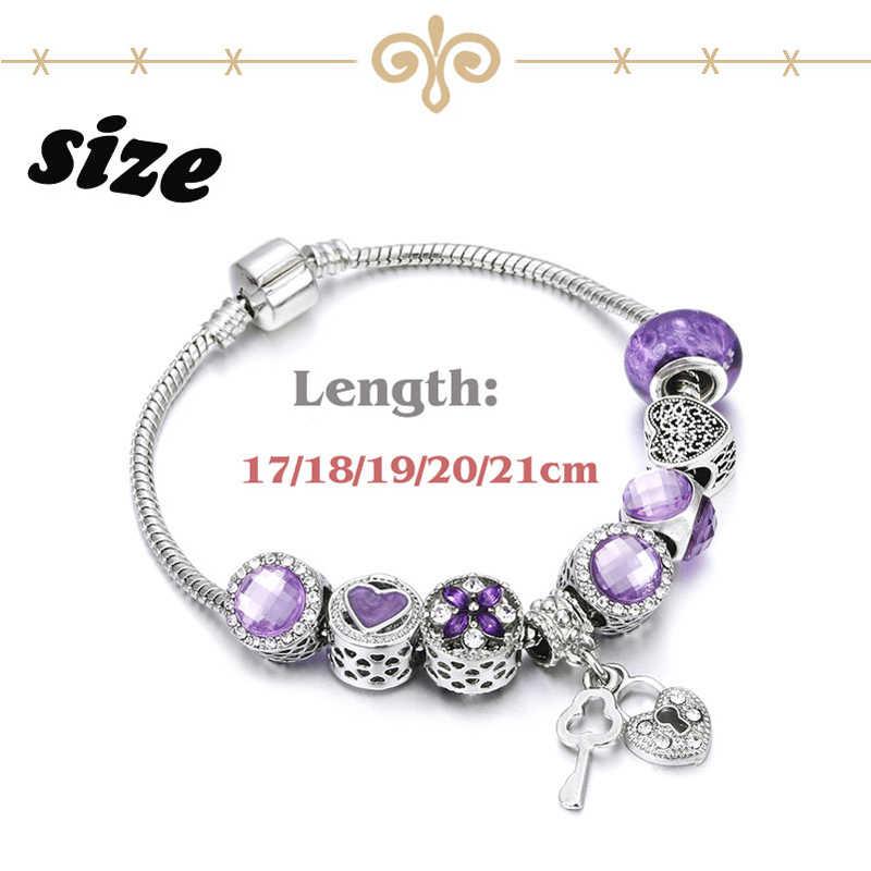ファッションビーズシルバーチャーム色アクセサリー紫色のチャクラクリスタルブレスレットとキーバングル女性合金ジュエリーギフト卸売