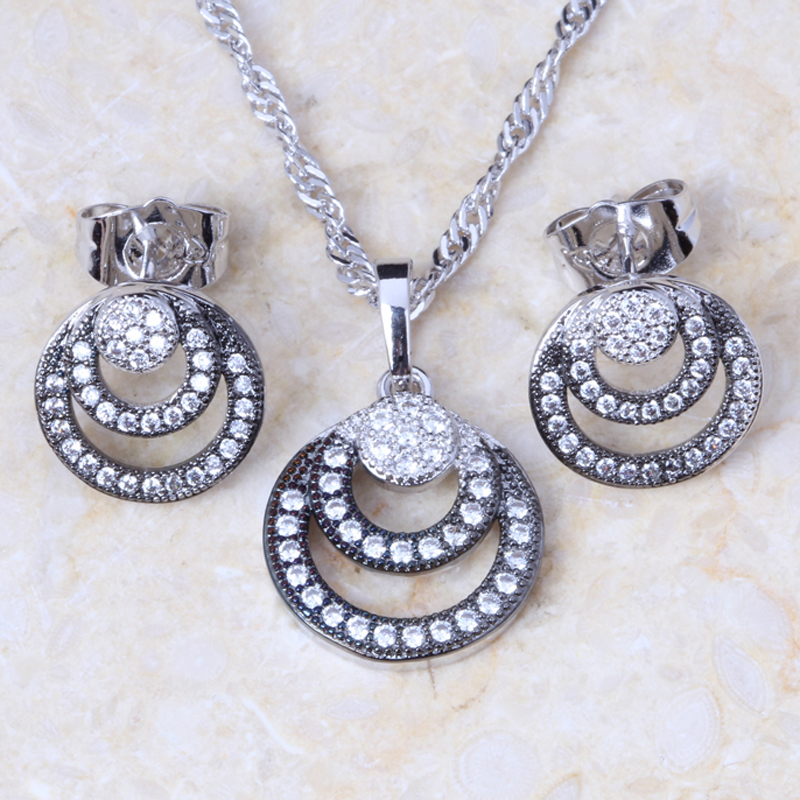 Round White Crystal Silver Colour Jewelry Sets Earrings Pendant Free Gift Bag T109