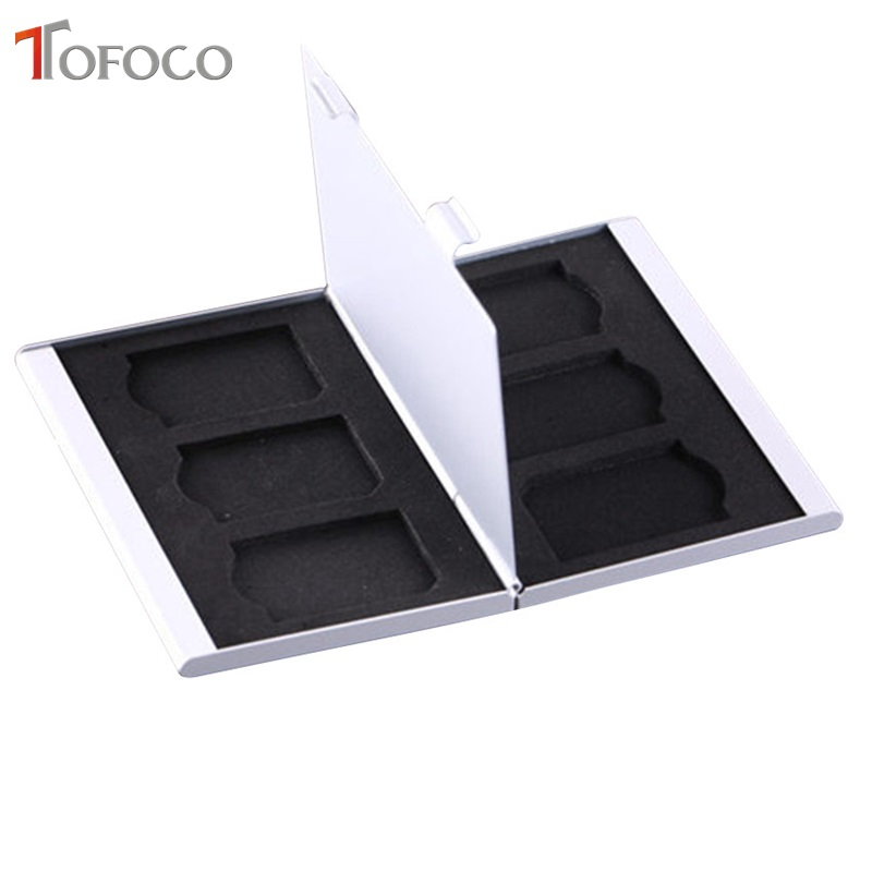 TOFOCO 1PC Black Red Silver Aluminum Memory Card Holder Case 6 SD SDHC MMC SDXC Memory Card High Quality