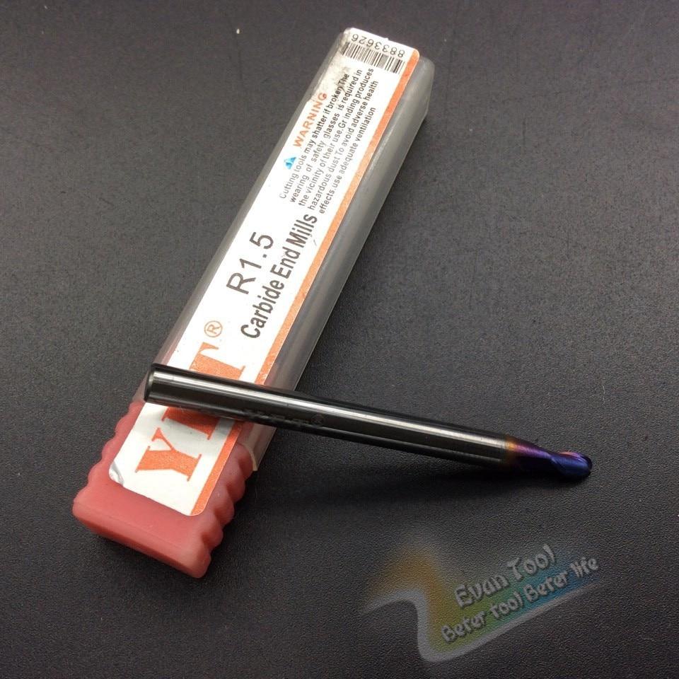 End mill Radius 1.5mm router bit 2-blade HRC 60 milling cutter carbide shank fresas metal duro tungsten steel cnc tools  цены