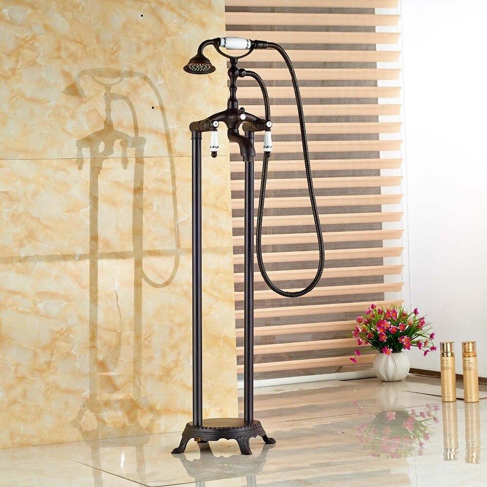 Brass Classic Bronze Floor Decked Bathtub Faucet Set Bathroom Tub Mixer Tap
