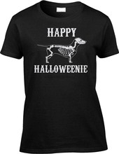 Happy Halloweenie Dachshund Halloween Pun Parody Funny Joke Humor Womens Tee(China)