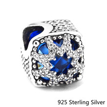 ФОТО authentic 925 sterling-silver diy bead blue eight-pointed glacial beauty crystal & cz wonder charms for lady jewelry making gift