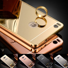 Case For Huawei Ascend P8/P8 Lite/P9/P9 Plus Luxury Acrylic Aluminum Metal Mirror PC Back Cover Thin Mobile Phone Case
