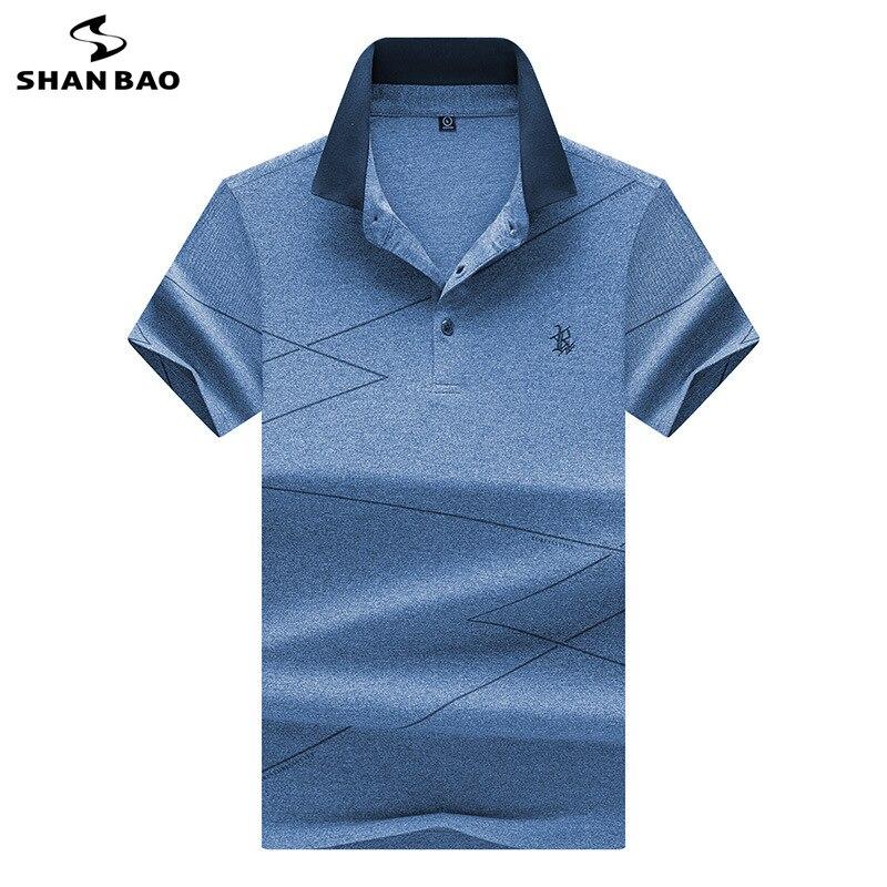 SHANBAO brand men's fashion casual short-sleeved Polo shirt 2019 summer new luxury high quality embroidery lapel Polo shirt