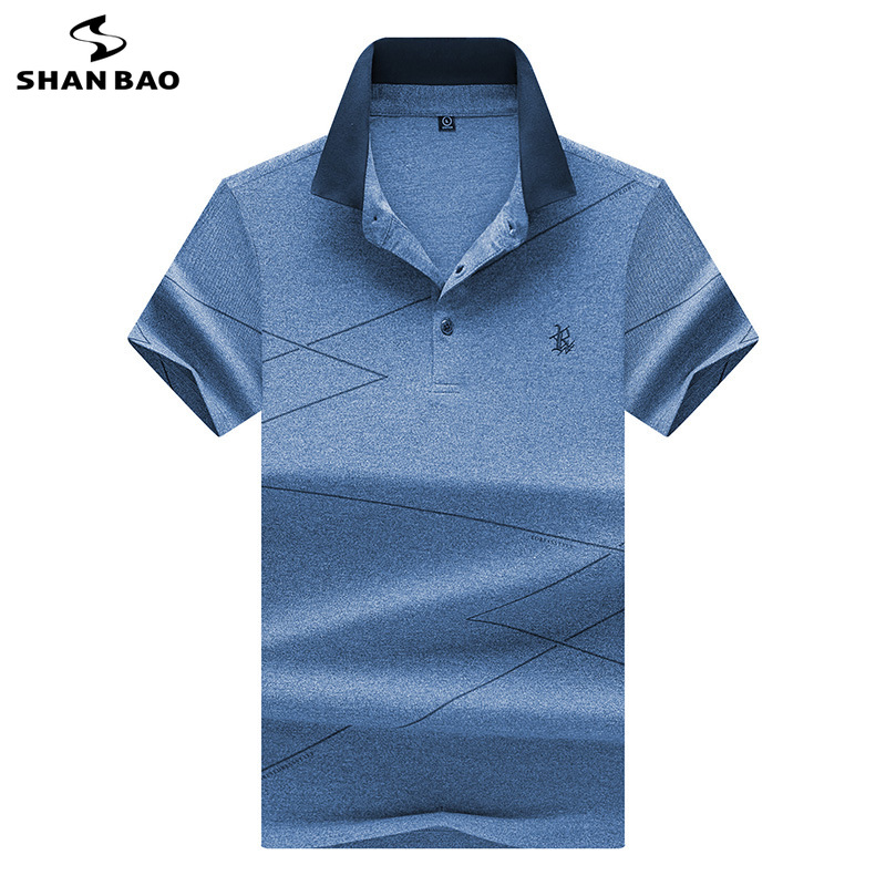 Shanbao marca moda masculina casual curto-mangas compridas camisa polo 2019 verão novo luxo de alta qualidade bordado lapela camisa polo