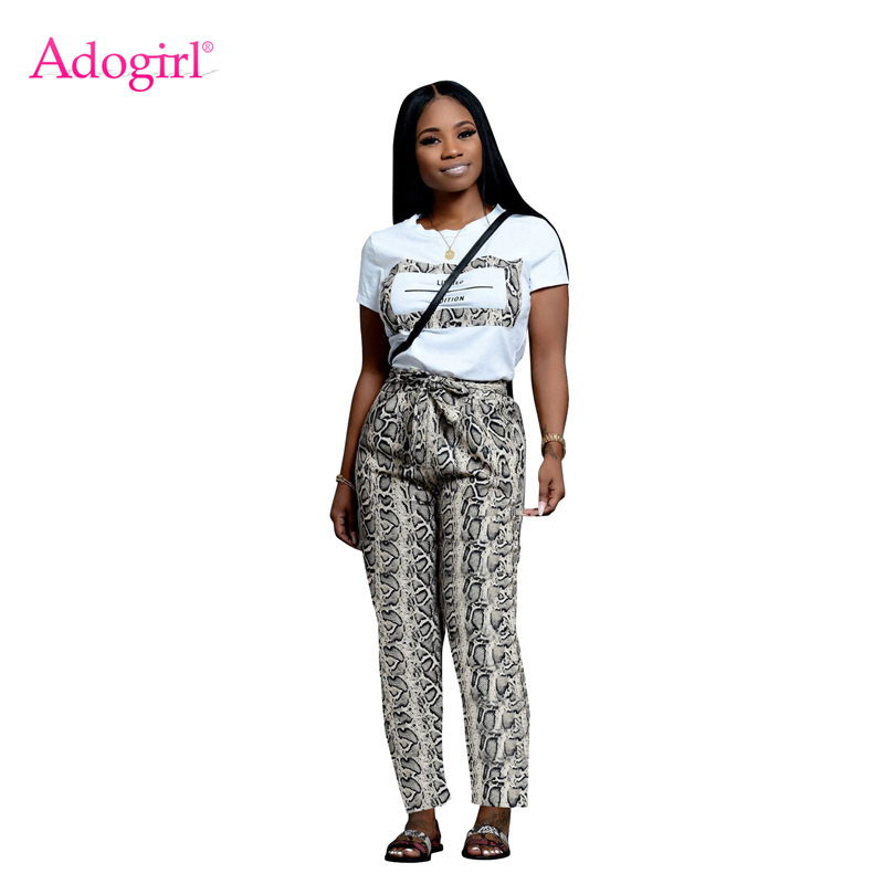 Adogirl Fashion Snakeskin Print Casual Two Piece Set O Neck Short Sleeve Women T Shirt Top Bow Tie Pockets Pants Fashion Suits