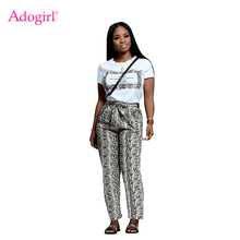 Adogirl Fashion Snakeskin Print Casual Two Piece Set O Neck Short Sleeve Women T Shirt Top Bow Tie Pockets Pants Fashion Suits frilled tie neck petal sleeve top