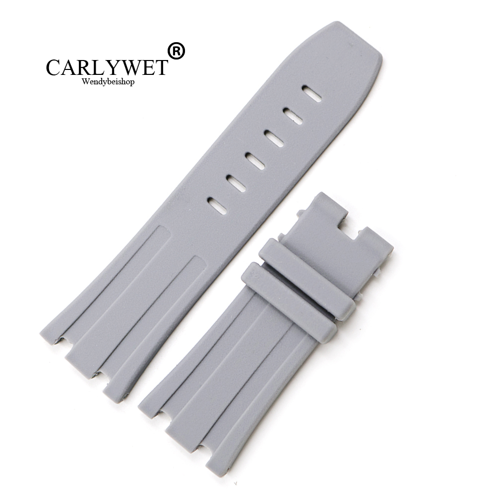 CARLYWET 28mm Grey Waterproof Silicone Rubber Replacement Wrist Watch Band Strap Belt For Audemars Piguet ROYAL OAK OFFSHORE in Watchbands from Watches