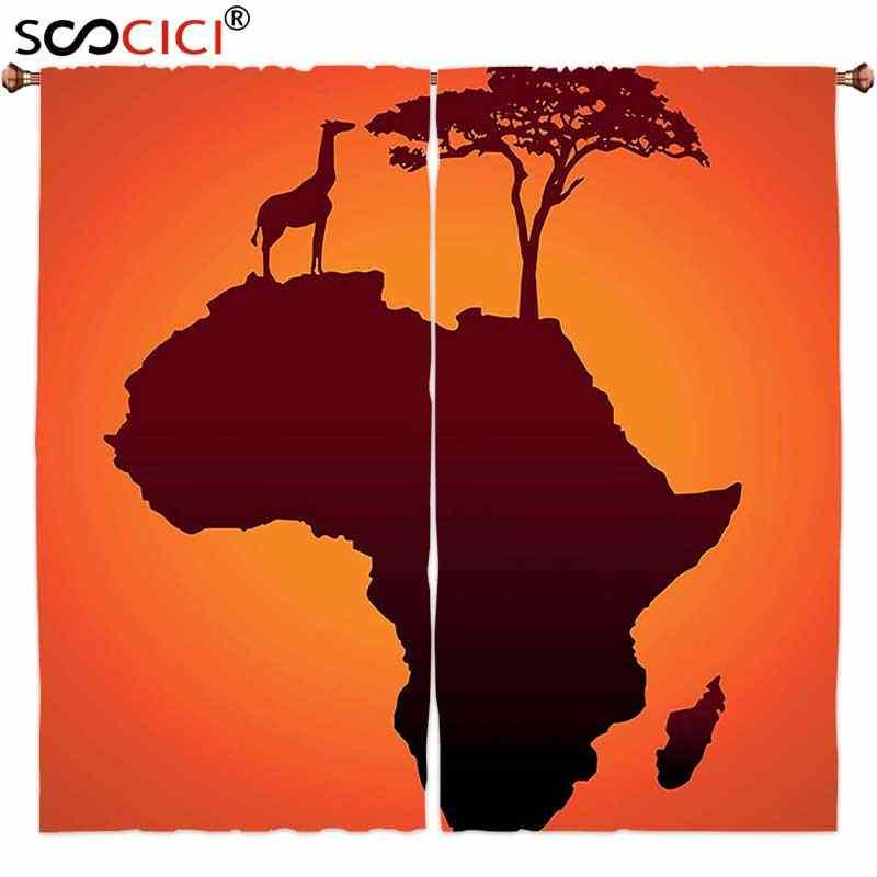 оконные шторы 2 панели африканский декор сафари карта с