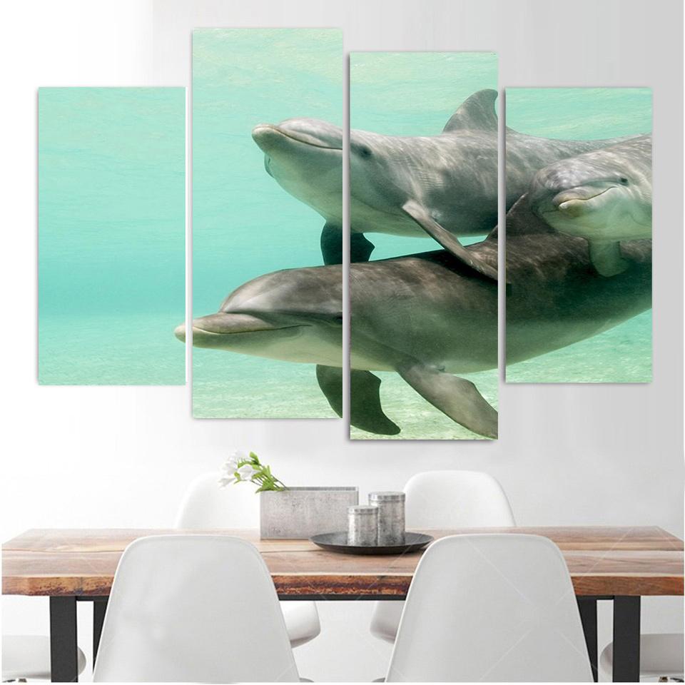 4 Panel Leinwand Kunst Malerei Dolphins Schwimmen Unterwasser HD Gedruckte Wandkunst Poster Wohnkultur Bild Fr