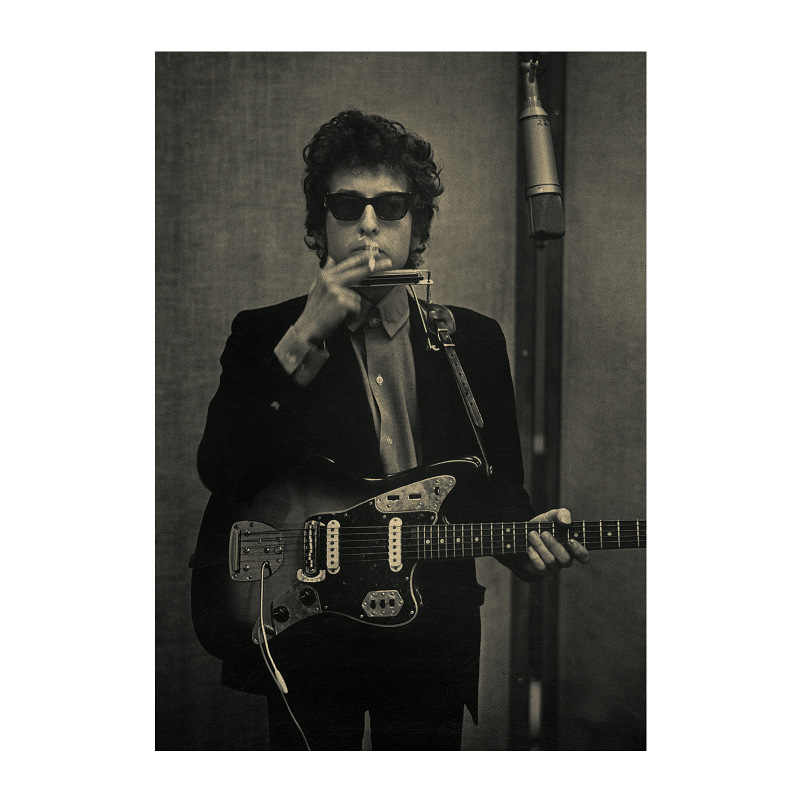 Bob Dylan 02/USA Ballad artist star Rock music /kraft paper/bar poster/Wall  stickers /Retro Poster/decorative painting 51x35 5cm