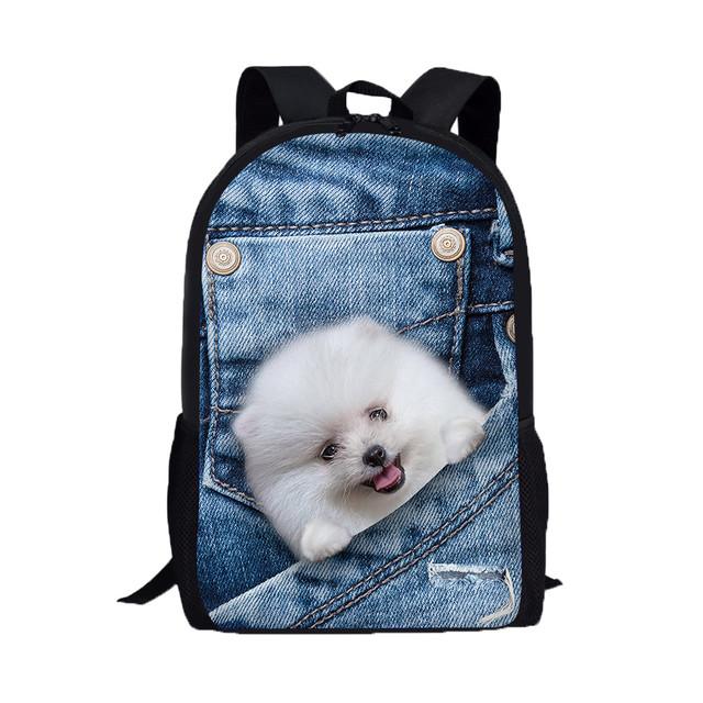 School 3D Dog Patterned Backpack