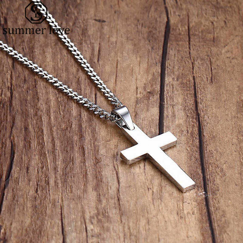 Collier Homme Silver Jesus Cross Pendant Necklace For Men Pingente Masculino Stainless Steel Gift Couple Friend Prayer Jewelry
