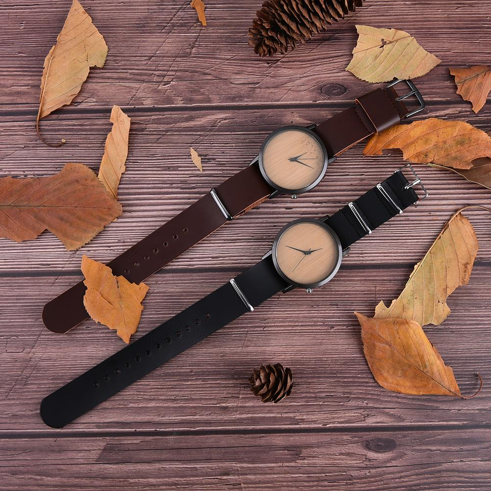 Wooden Watches Quartz Watch Men Bamboo Modern Wristwatch Analog Nature Wood Fashion Soft Leather Creative Birthday Gifts цены