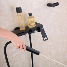 North American open-style cold and hot water all-copper black waterfall bath faucet tub side shower set bathtub faucet tap