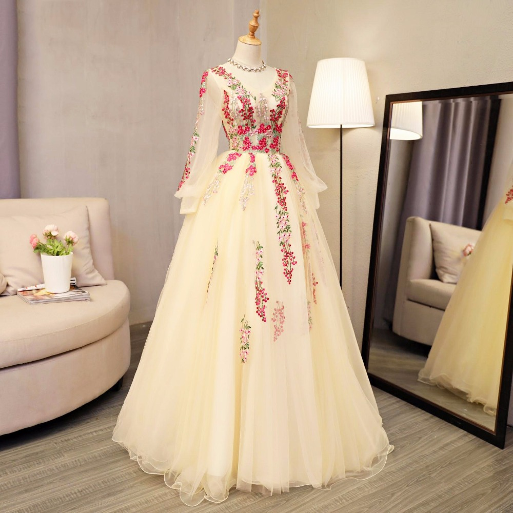 Floral Embroidery Evening Formal Dresses Full Sleeves Floor Length Prom Party Ball Gown vestido de noiva Women Evening Ball Gown - 4