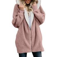 Winter Women Warm Fluffy Jacket Plush Long Girls Coat Hooded Hoodies Female Sweatshirt Windbreaker Plus Size 3xl 4xl 5xl Pink