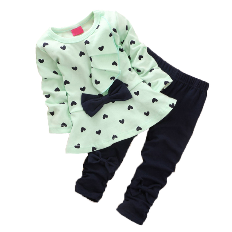 2019 new Child Lady Clothes Set Coronary heart-shaped Print Bow Cute 2 PCS Clothes Set Kids Material Swimsuit Prime T shirt + Pants Clothes Units, Low cost Clothes Units,...