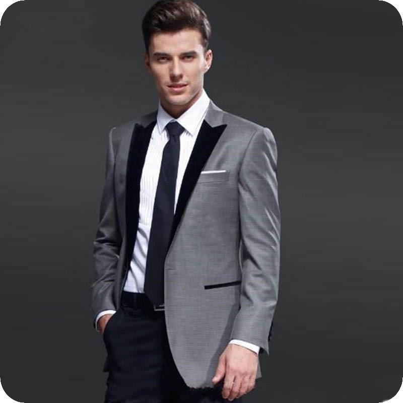 Grey Men's Classic Suits For Wedding Black Peaked Lapel Slim Fit Groom Tuxedos Ternos Male Blazers 2 Piece Elegent Costume Homme