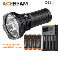 Acebeam X45 II high lumen flashlight max 18000lm 4* CREE XHP70.2 LED beam distance 660 meter + 4* 18650 battery NEW I4 charger