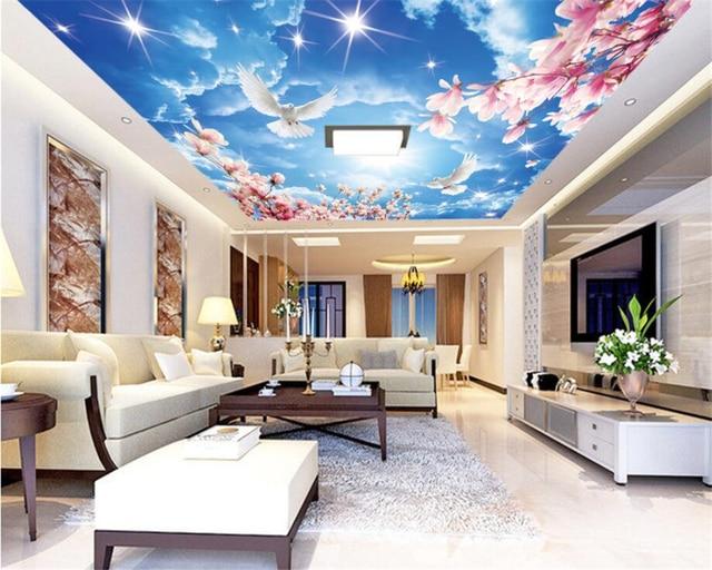 Niestandardowe 3d fototapeta b kitne niebo bia e chmury for 3d roof wallpaper