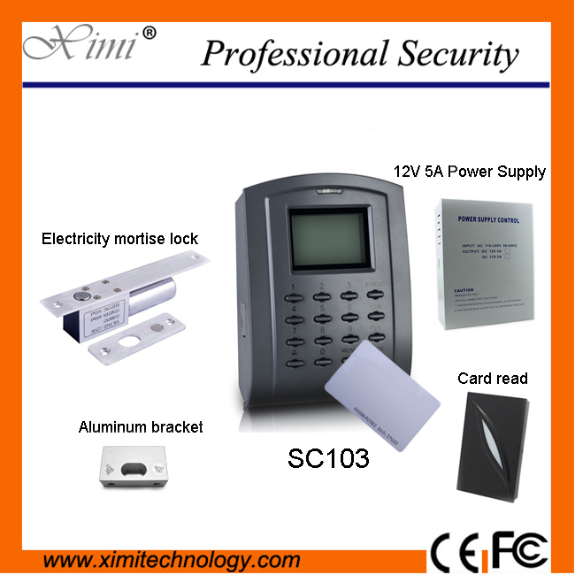 Access Control Kit Good quality SC103 FRID card access control with Power supply, electric lock,card reader, bracket