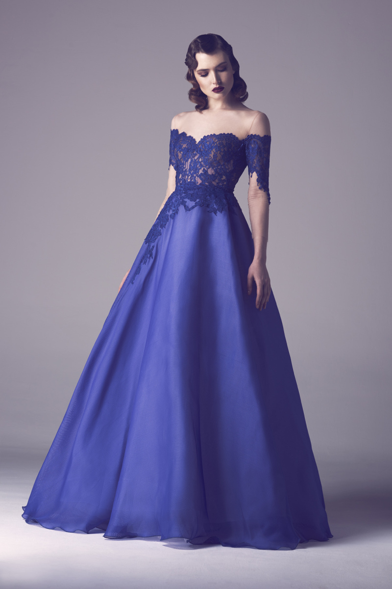 Royal blue boat neck lace evening dresses ball gown open back off ...