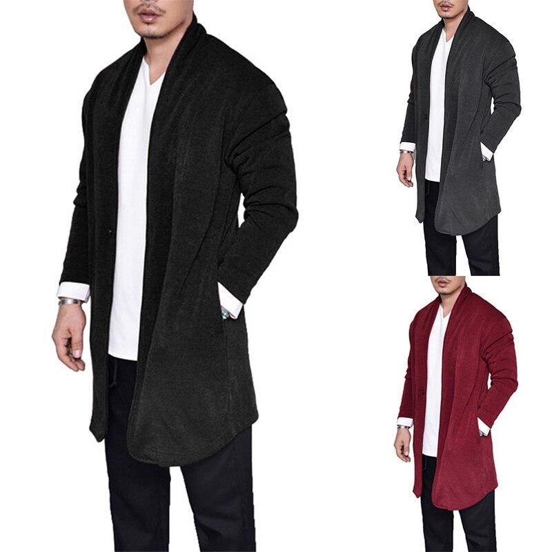 CALOFE Men Business Knitted Cardigan Autumn Coats Men Hip Hop Streetwear Casual High Quality Sweater Coat Plus Size
