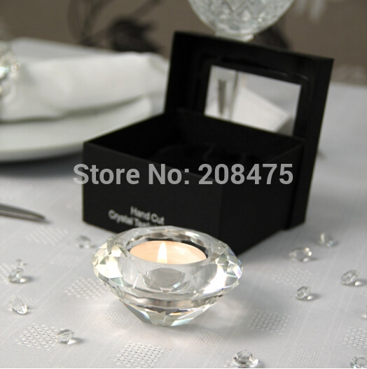 Free Shipping Clear Crystal Diamond Candle Holder,Mini Crystal Tealight Candle Holder