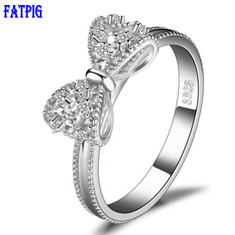 Fatpig Butterfly Silver Micro Setting Ring Anniversary Wedding