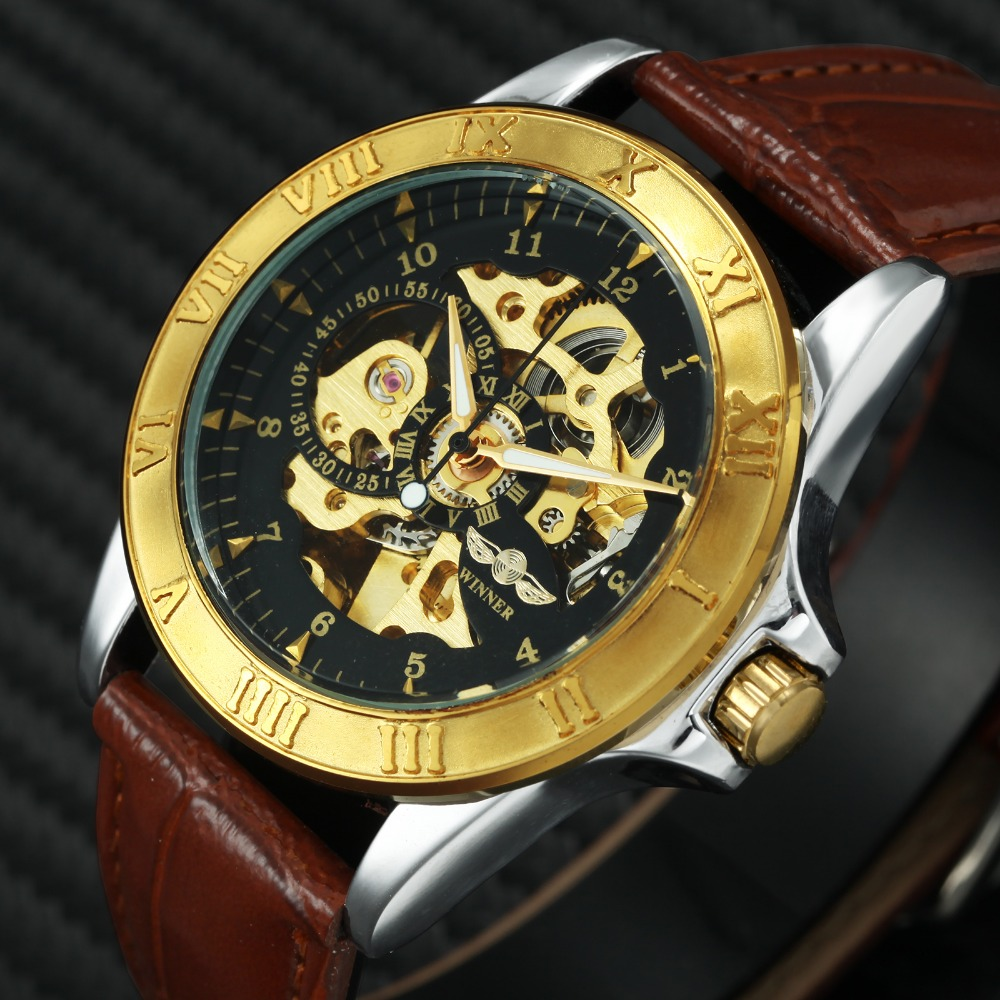 2018 WINNER Unisex Men Women Automatic Mechanical Watch Golden Roman Design Round Case Leather Watchband Skeleton Wristwatch2018 WINNER Unisex Men Women Automatic Mechanical Watch Golden Roman Design Round Case Leather Watchband Skeleton Wristwatch