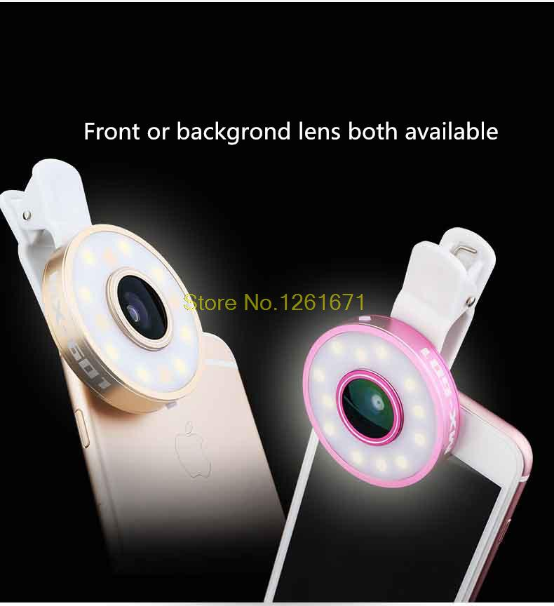 Fisheye Phone Camera Lens Kit LED Selfie Fill-in light + Macro + Wide Angle Lens for iPhone 7 7plus Samsung S8 S7 Universal V04 6