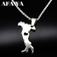 Italy Map Pendant Necklaces Stainless Steel Chain for Women Men Girl Silver Italian Italia Choker Necklace Jewelry Gift N61041