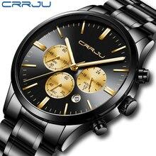 Часы CRRJU Мужские кварцевые аналоговые, спортивные водонепроницаемые в стиле милитари, с хронографом, нержавеющая сталь