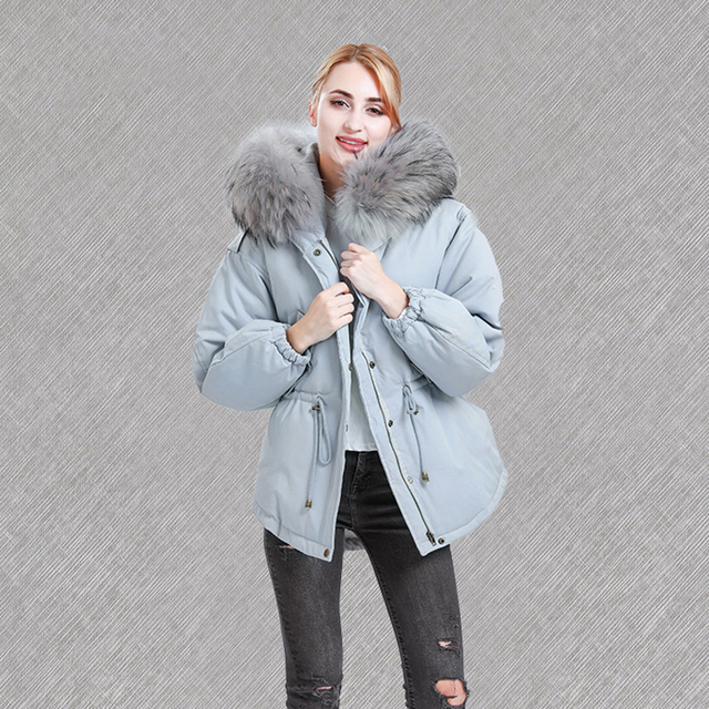 Women's Winter Down Jackets Natural Raccoon Fur Collar Hooded Short Coats Winter Thicken Warm Detachable Fur Collar Jacket Parka