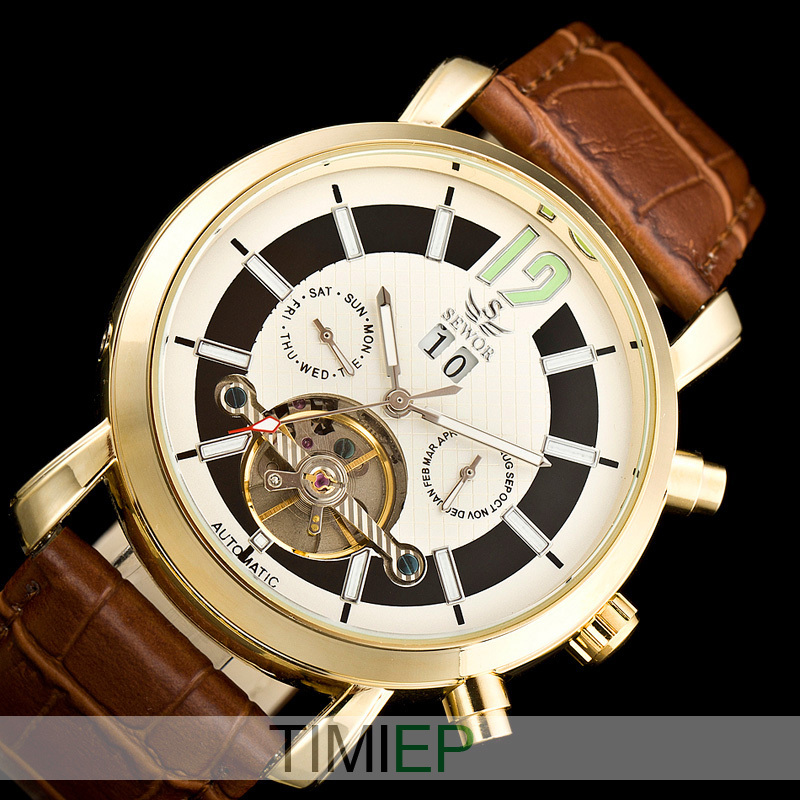 314bdd2541d0f SEWOR Nice Gold Tone Mens Tourbillon Automatic Mechanical Luxury Multi  Function Watch Allochroic Glass Leather