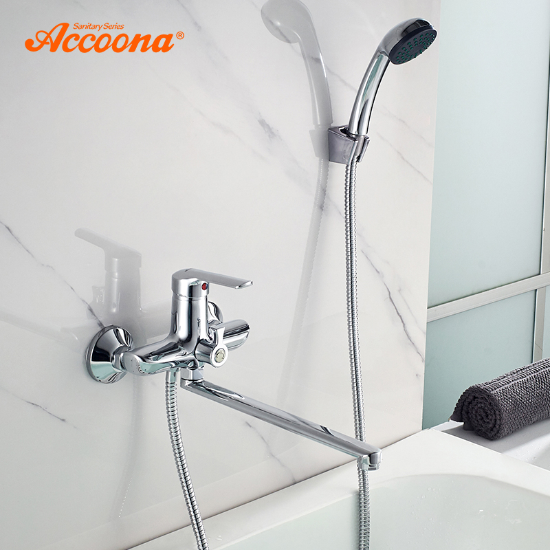 Accoona Bathtub Faucet Chrome Bathtub Faucet Mixer Tap Wall Mounted Waterfall Bathroom Shower Faucet Set With Shower Hand A7168
