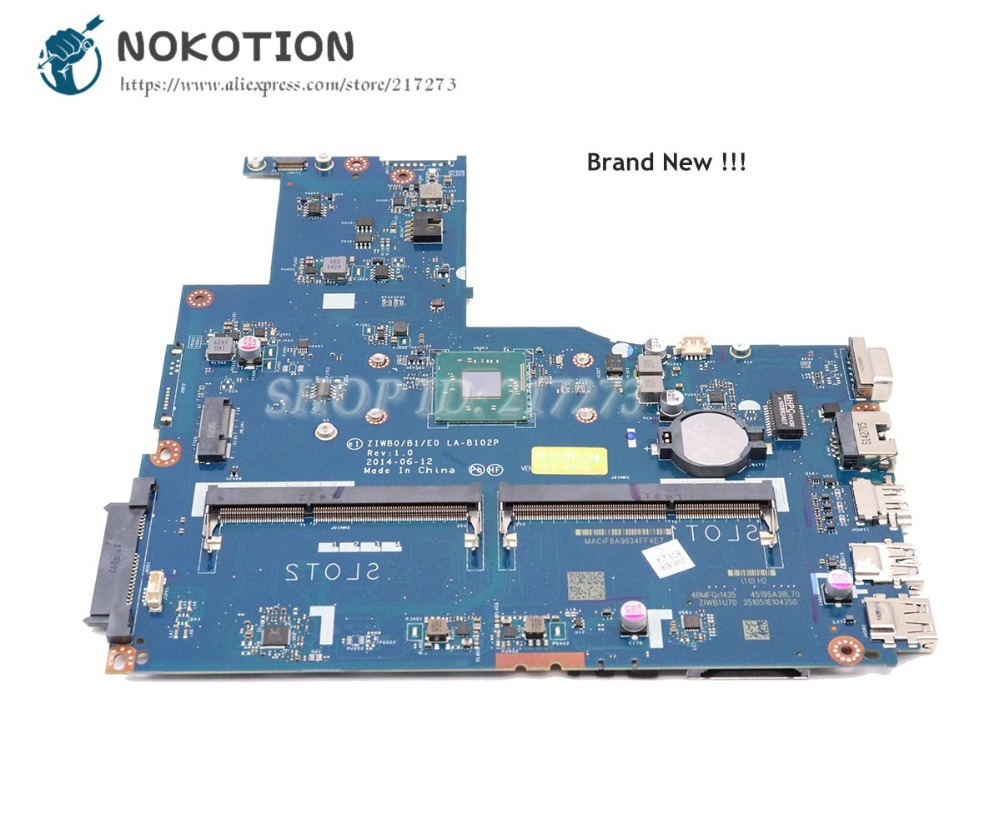 цена NOKOTION Brand New ZIWB0 B1 E0 LA-B102P Main board For Lenovo Ideapad G50-30 B50-30 Laptop Motherboard DDR3 with Processor