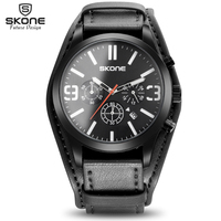 SKONE Fashion Amry Military Watch Relogio Masculino Leather Luxury Men Watches Chronograph 6 Hands 24 Hours